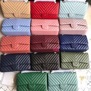 designer de qualidade superior saco bolsa lampskin couro senhora CF clássico aba do saco de ombro mensageiro de cadeia longa sacos múltiplos cor saco clássico