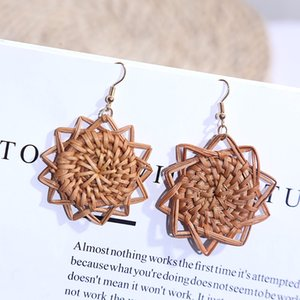 Ins Europe excused handmade geometric rattan arrings women's new fashion lace personality retro workers