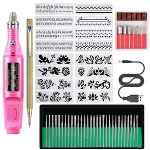 Manicure Set DIY de alta qualidade Polimento Pen Flor Digital Template Set Grinding Needle Lixa Anel Sets Art Nail