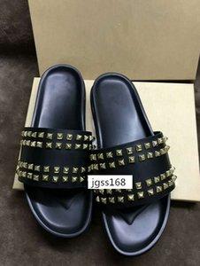MEJOR CALIDAD Donna Studded Willow zapatillas de uñas Diseñador de lujo Red Bottoms Zapatos hombres Rivet Spikes Zapatillas planas con cajas