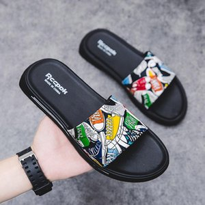 Men's shoes sandals and slippers new summer indoor fashion printing tide brand word slippers anti-skid wear personalized outdoor beach