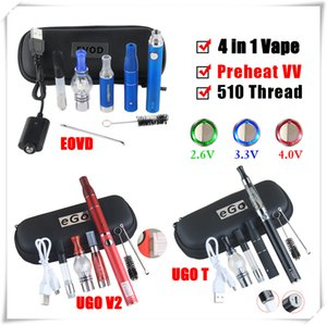 4in1 Kits de inicio de vaporizador Mini Vapes 4 en 1 eVod Voltaje variable UGO T VV Baterías Cera Aceite Atomizador Dab Pens E Cigarrillo