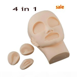4 in 1 High Quality 3D Permanent Makeup Eyebrow Lip Tattoo Practice Skin Mannequin Head with 2pcs Eyes + 1Pc Lip