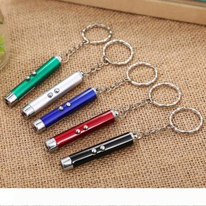Mini Cat Red Laser Pointer Pen Key Chain Funny LED Light Pet Cat Toys Keychain Pointer Pen Keyring for Cats Training Play Toy DH0185