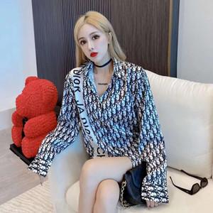 Blusas para estudantes do sexo feminino versão coreana do casaco solto versátil de mangas compridas Hong Kong snowmobile blusa populares logotipo impresso sunbloc