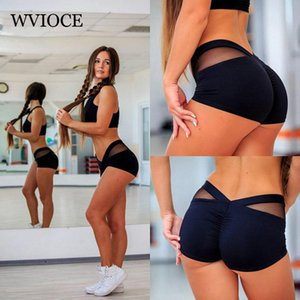 WVIOCE Serrer Femmes Sexy Yoga Shorts Sport Fitness Mesh Patchwork Cross Shorts Gym Courir À Séchage Rapide Court Respirant Leggings