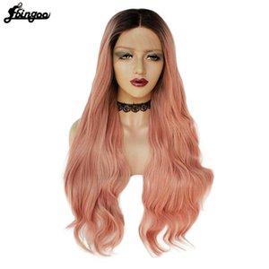 Ebingoo fibra a temperatura elevata lunga Arancione Rosa Natural Wave con Dark Roots parrucca sintetica anteriore del pizzo della parte centrale per le donne