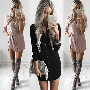 Summer Fashion Casual Newly Women Long Sleeve Turn-Down Collar Single Breasted Solid Shirt Slim High Waist Mini Dress 3 colores