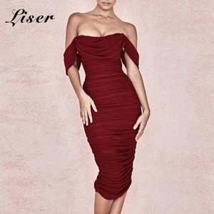 Liser 2019 جديد الصيف النساء اللباس حمالة قصيرة الأكمام فستان مثير bodycon المشاهير حزب بورجوندي فساتين vestidos بالجملة
