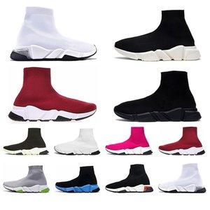 Balencaiga Siyah Beyaz Yeşil Pinks Gri kadınlar iskarpin yukarı dantel ile Top Kalite Erkek Hız Traniers Temizle Sole ağırlık Çorap Ayakkabı