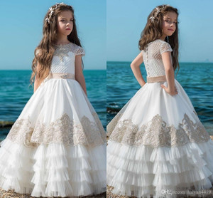 2019 Lovely Flower Girl Dresses For Weddings Jewel Neck Tulle Appliques Short Sleeve Beaded Tiered Ruffles Girls Pageant Dress Prom Gowns