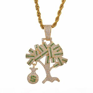 Hip Hop Gold Silver Color Cubic Zircon US Dollar Money Tree Pendant Necklace For Men Iced Out Bling Jewelry Gifts