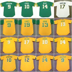 Oakland 9 REGGIE JACKSON 1969 10 Dave Kingman 12 Dusty Baker 13 JOHN BLUE MOON ODOM 14 VIDA BLEU 17 DENNY McLain Vintage Baseball Jersey