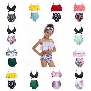 여자 수영복 2 개 2019 Kids Suspender Backless Tops Triangle 하이 웨스트 바지 비치 수영복 수영복 13colors 1-14years Q213
