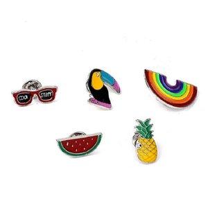 Cartoon broche Woodpecker do arco-íris óculos Melancia Ananás Frutos liga esmalte Broche