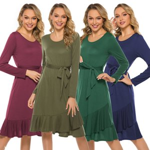 women A-line Casual Dress Long Sleeve O Neck Dress sloid Autumn Temperament midi from dress