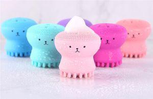 Preciosa linda forma de pulpo de silicona cepillo de limpieza facial profunda limpieza del poro Exfoliante Lavarse la cara Cuidado de la Piel