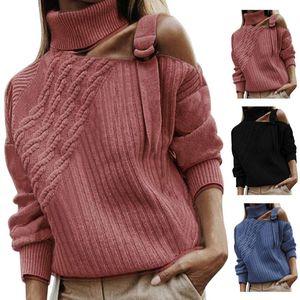 Womens Jerseys Tops frías calientes de hombro compras sólido de manga larga de cuello alto Partido punto casual diaria suave Otoño Invierno suéter de las mujeres