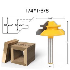 1PC нож 45 градусов 1/2 '' Shank Замок Торцевой склад Шарнирных фрезы для обработки древесины Cutter инструменты 1/4 * 1-3 / 8 Wood Drill