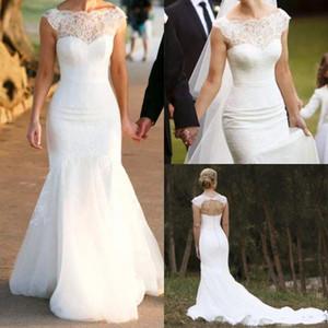 Modeste doux dentelle Pays robes de mariée avec manches Tulle VESTITO da sposa plage Boho Robes de mariée 264