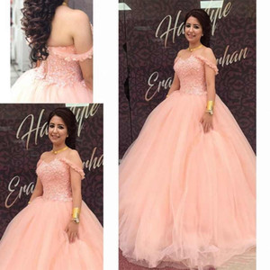 Luxury Ball Gown Quinceanera Dresses Custom Made Flowers Off Shoulder Prom Dresses Long Formal Party Gowns