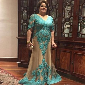 Aqua Green Lace Mom Evening Dresses For Wedding With Short Sleeves Jewel Champagne Tulle Beaded Mother Of The Bride Party Dress Women Plus