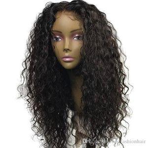 Pas cher synthétique bouclés Lace Front Wigs Couleur Noir Glueless chaleur fibre synthétique résistant cheveux bouclés perruque de dentelle lâche