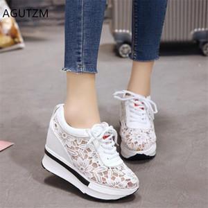 AGUTZM 2019 сетка дышащая женщина кроссовки пятки платформы женщина вскользь ботинки клин платформы шнуровке обувь Mujer Q971
