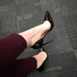 Elegance Femme Pompe Iriza 100mm Nu cuir verni noir demi-ouverture Pointu Talons Toe Luxe Rouge Sandales Bas Escarpins rouge Soles avec B