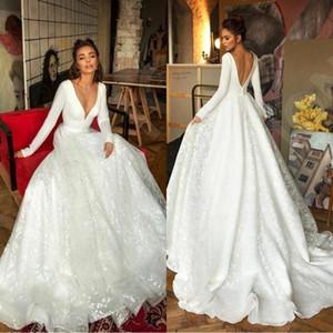 2020 reizvolle weiße volle Spitze Berta Brautkleider V-Ausschnitt, langen Ärmeln Brautkleider Plus Size Brautkleid BC2474