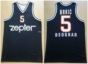 Cosido Haris Brkic # 5 KK Partizan Belgrado Baloncesto Negro retro de los hombres del jersey encargo cualquier Número Nombre jerseys