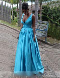 2020 Cheap Prom Dresses Long A-line Blue Satin Evening Dresses V Neck Party Gown robe de soiree Beaded Straps