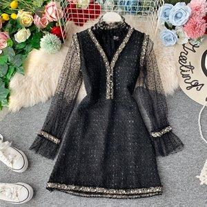 Sheer SINGRAIN vendimia de las mujeres de partida vestido de encaje + blusa de dos piezas otoño elegante del partido del brillo vestido de invierno Brillante Vestido con cuentas