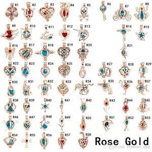 Perle De Mode Cage Pendentifs Or Rose Argent Plaqué Perle Gem Perles Flottant Lockets Charms Pour Colliers Diy Fabrication De Bijoux En Vrac En Gros