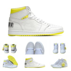 Newest 1s First Class Flight code 555088-170 men basketball shoes 1s Bar Code Lemon Yellow sneaker top quality free shipping