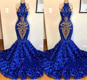 Royal Blue Русалка Высокие Платья Выпускного Вечера Золотые Аппликации Розовые Цветы Длинные Женщины Случайные Вечерние Платья 2K19 Юниор Party Wears BC1213