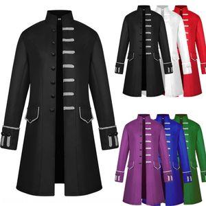 2019 men's midi steampunk stand collar Medieval 2019 men's Windbreaker jacket jacket windbreaker midi steampunk stand collar Medieval