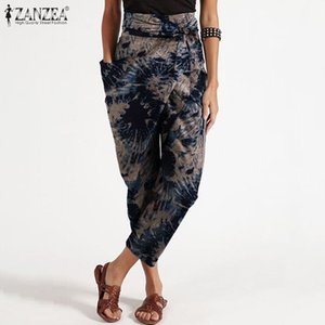 Women Trousers ZANZEA 2020 Fashion Printed Cropped Pants Casual Pantalon Palazzo Belted Female Asymmetrical Turnip Plus Size
