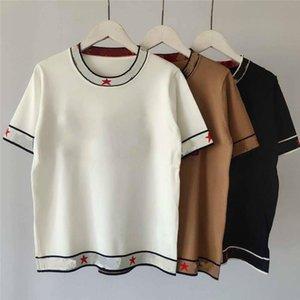 Donne del progettista delle magliette di marca T Lettera del ricamo di stile delle lane di modo di lusso supera Lady T Shirt Abbigliamento LR200435