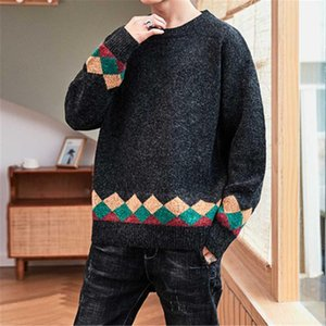 Autumn Winter Argyle Men Christmas Sweaters Fashion New O-Neck Japanese Style Knitted Pullovers For Male Diamond Quilted Sweater