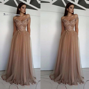 Floor Length A-line Off Shoulder Appliques Tulle Prom Party Dresses Tulle Sexy Party Dress Hot Sales