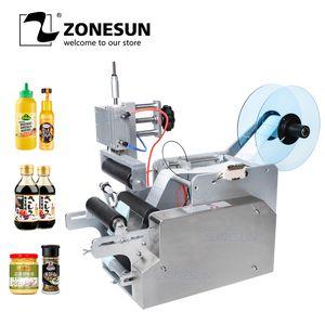 ZOENSUN TB-80 neumática de escritorio pequeño semi automático de la botella de vino Ronda Aplicador Etiquetado impresión pegatinas Máquinas