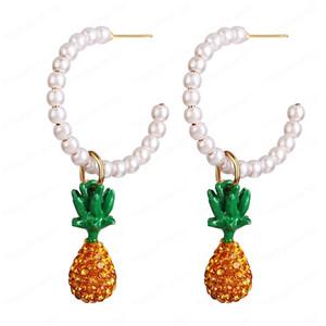 Hot Fashion Jewelry Faux Pearl Pineapple Pendant Earrings Rhinstone Pineapple Dangle Stud Earrings