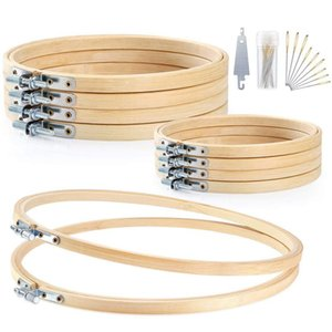 10 Stücke 3 Größen Stickrahmen Set Bambus Kreis Kreuzstich Hoop Ring (4,2 Zoll, 6,2 Zoll, 8 Zoll)