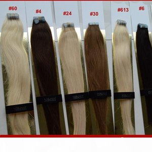 """XCSUNNY Tape In Hair Extensions Remy Wavy 18""""20"""" Human Hair Extensions Tape 100g 100% Indian Virgin Human Hair Tape In Extension"""