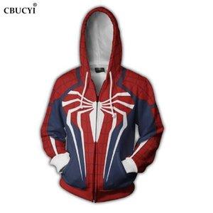 Marvel Film Spiderman 3D Baskı erkek Zip Hoodie Kazak Rahat Cep Ceket Sonbahar Moda Uzun Kollu Venom Hoodie S-6XL