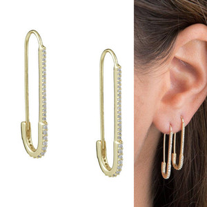 unique designer paperclip safety pin studs fashion elegant women jewelry gold filled delicate earring new