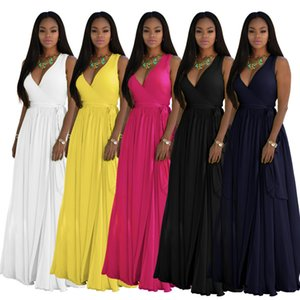 Women Dress Deep- V Neck Sleeveless Vintage Wedding Maxi Dress Evening Dresses Sexy Flowy Cocktail Gown