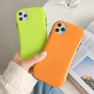 Mignon fluorescent de couleur unie Téléphone cas pour l'iPhone 11 Pro Max XR XS Max 7 8 Plus X doux IMD ployé Quatrième de couverture cadeau