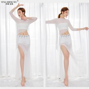 Traje oriental Mulheres Sexy Moda Bellydance Set Top + saia Dividir Roupa Practice Top Saia profissionais Costumes Dança do Ventre